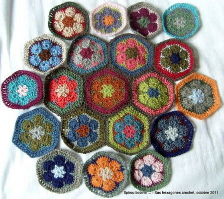 Sac hexagones crochet encours 1