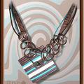 Collier Fimo et fil alu rayé chocolat turquoise (N)
