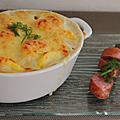 Gratin de fenouil & pommes de terre aux saucisses fumées d'alsace