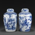 Two blue and white ovoid covered jars, kangxi