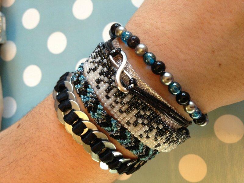 bracelet multirangs argent bleu noir de cindy 1