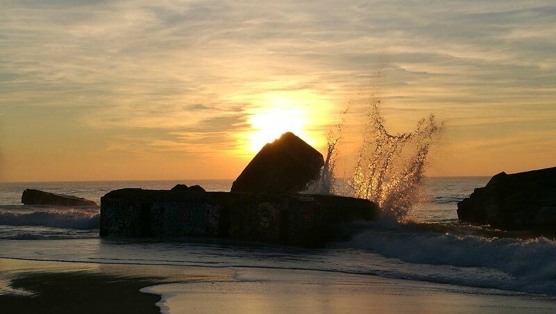 Capbreton, coucher de soleil, blockhaus et vague (40)