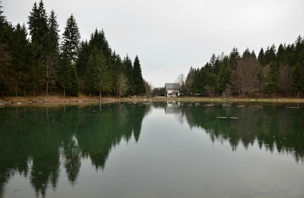 Lac, reflet,sonagramme et Gélinotte à Freydières