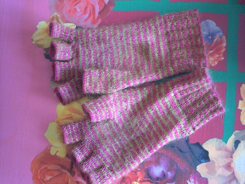 mitaines rayées en KSH et laine monoprix