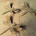 Libellules en papier ancien