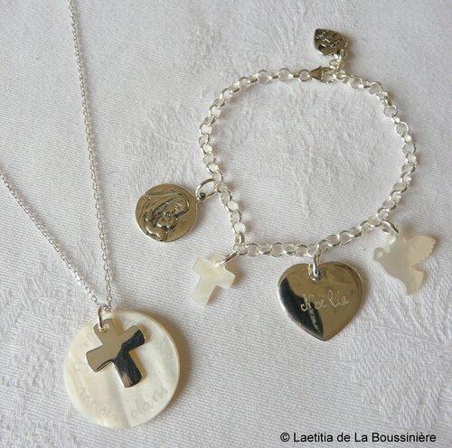 Ensemble colllier de Communion et bracelet sur chaîne argent massif breloques argent massif et nacre