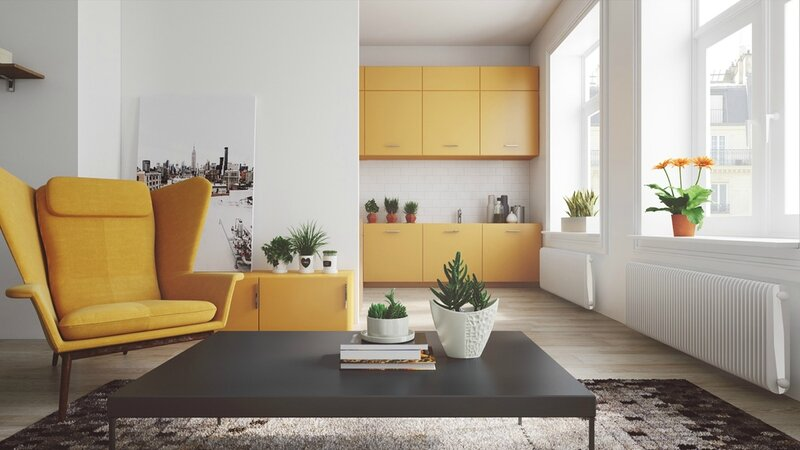 Mustard-pops-of-colour-living-room-mustard-chair-mustard-cabinetry-white-walls