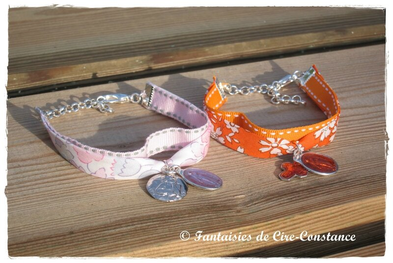 Bracelets duo lib sellier orange rose