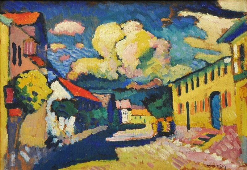 Wassily_Kandinsky,_1908,_Murnau,_Dorfstrasse_(A_Village_Street),_oil_on_cardboard,_later_mounted_on_wood_panel,_48_x_69