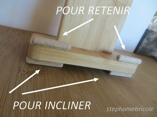 diy recup faire soi m me un support pour tablette num rique avec un pr sentoir planche. Black Bedroom Furniture Sets. Home Design Ideas