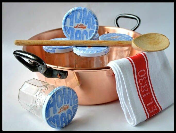 Coffret bassine confiture en cuivre spatule pots le parfait torchon - Bassine a confiture mauviel ...
