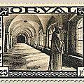 Deuxième série d'Orval, émise au profit du Fonds de reconstruction de l'abbaye Le cloître 1F25 + 1F75