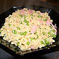 Coquillettes cuites comme un risotto, au bacon et petits pois
