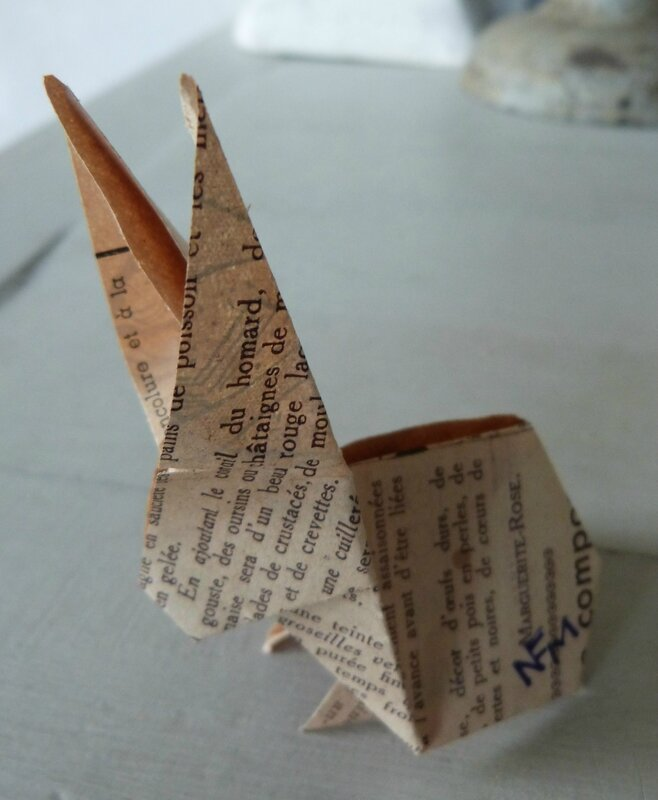 Lapin origami papier ancien (4)