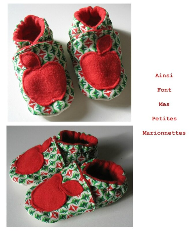 chaussons pomme rouge vert