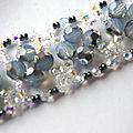 Bracelet baroque bleu, argent et cristal