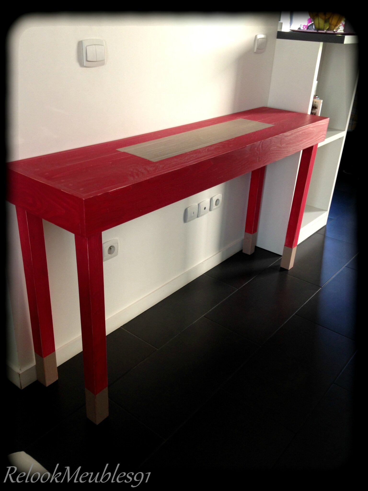 Console rouge chinois relookmeubles91 for Console meuble chinois