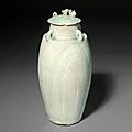 A carved Qingbai vase and cover, Southern Song Dynasty (1127-1279)