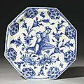 A safavid blue and white octagonal ceramic soft paste porcelain dish, iran, 17th century