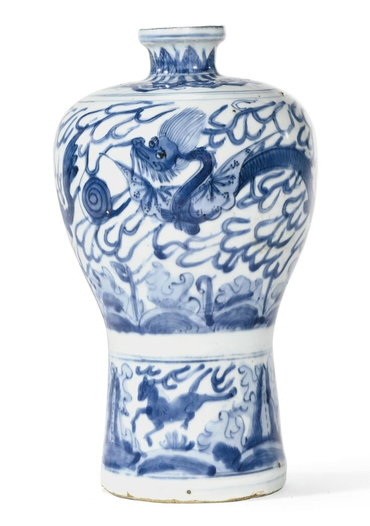 A blue and white 'Winged dragon' meiping, Ming Dynasty, Wanli Period