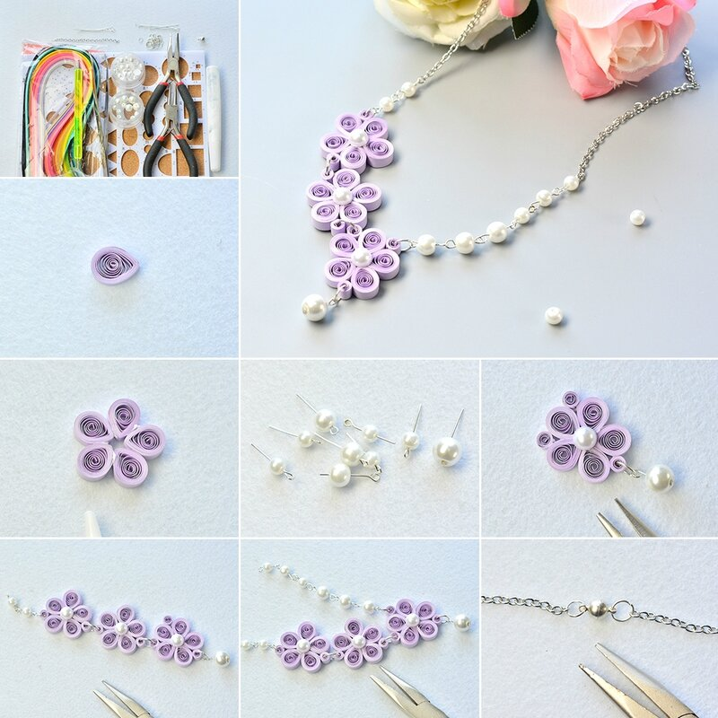 1080-How-to-Make-a-Purple-Quilling-Paper-Flower-Necklace-with-White-Pearl-Beads-Decorated