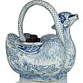 A very rare blue and white 'mandarin ducks' ewer, China, Transitional period