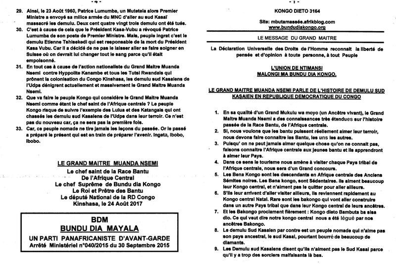 LE GRAND MAITRE MUANDA NSEMI PARLE DE L'HISTOIRE DE DEMULU SUD KASAIEN EN RDC a