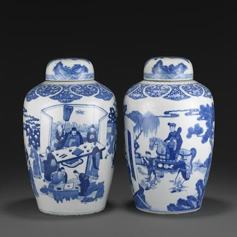Two blue and white ovoid covered jars, Kangxi period