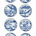Eight small blue and white dishes, chongzhen period, circa 1643