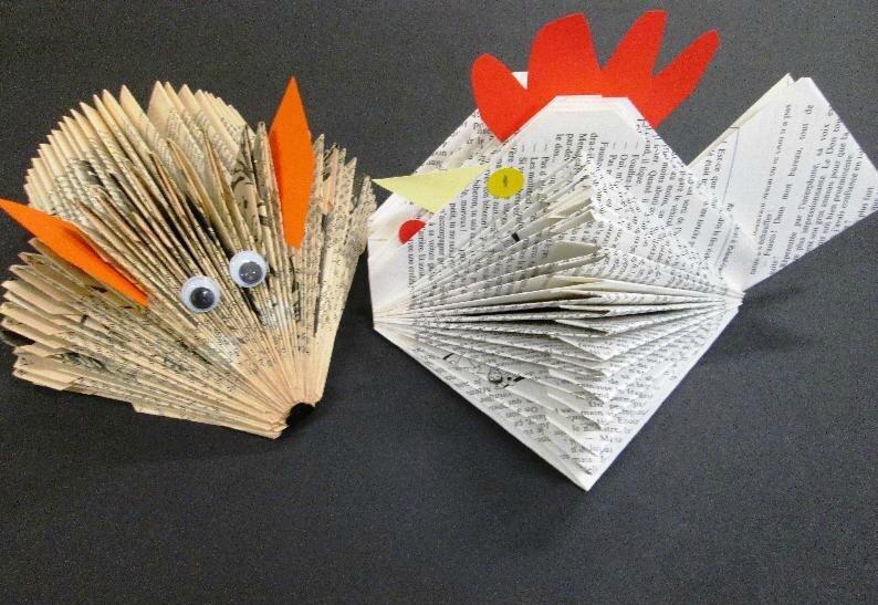 Fabriquer une poule et un renard avec des vieux livres
