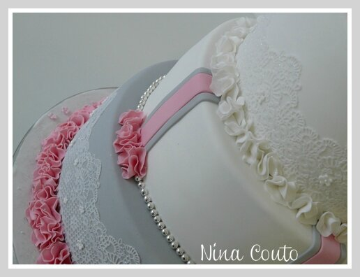 wedding cake gris rose blanc Nimes2