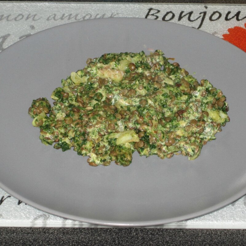 Curry cabillaud epinard lentilles