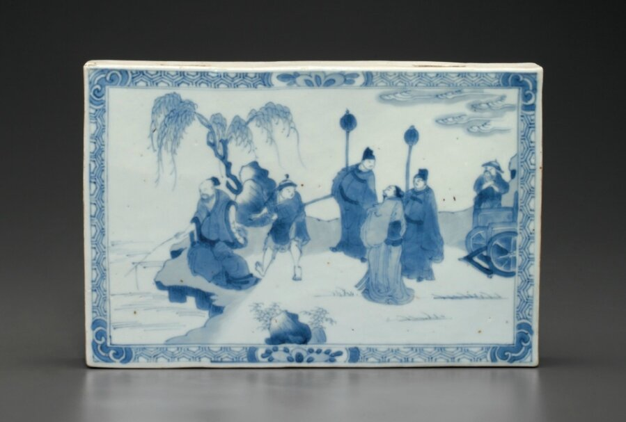 A two-sided blue and white rectangular tile, Kangxi period, circa 1700