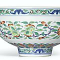 A fine and rare doucai 'Peaches and Lotus' bowl, Mark and period of Yongzheng