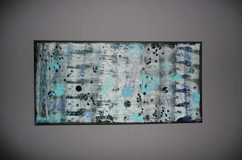 Tableau contemporain noir et bleu strange l art for Tableau bleu et gris