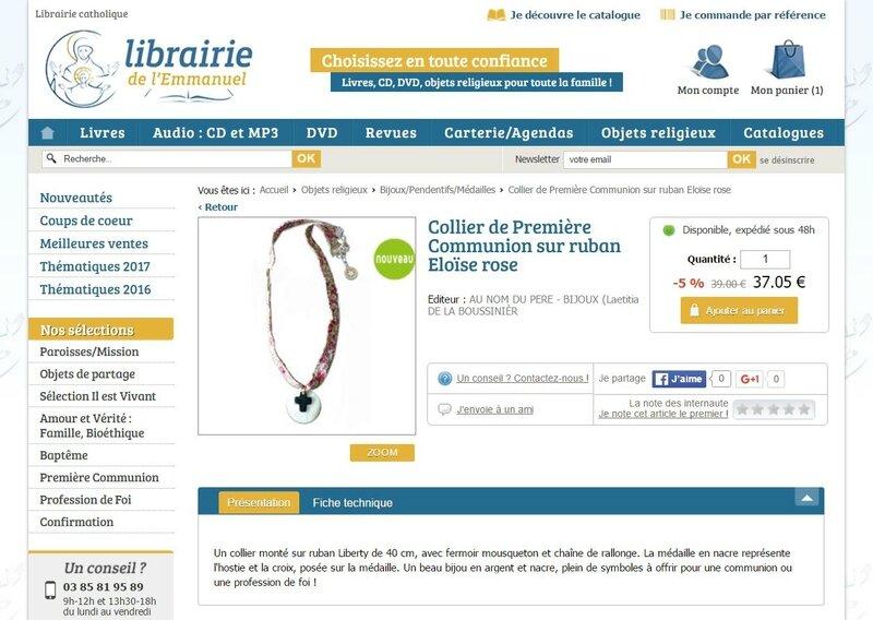 Librairie de l'Emmanuel collier de Communion