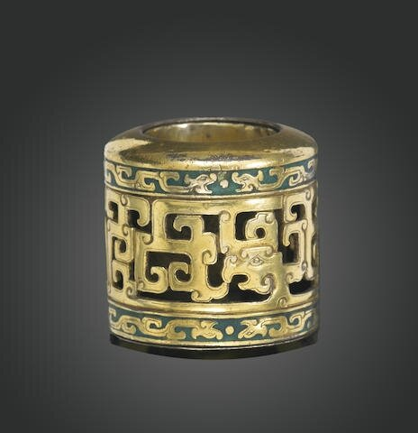 A parcel gilt and enameled archer's ring, Qianlong period