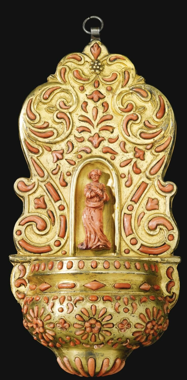 Italian, Trapani, early 18th century, Holy water stoop with a female saint, perhaps Mary Magdalen