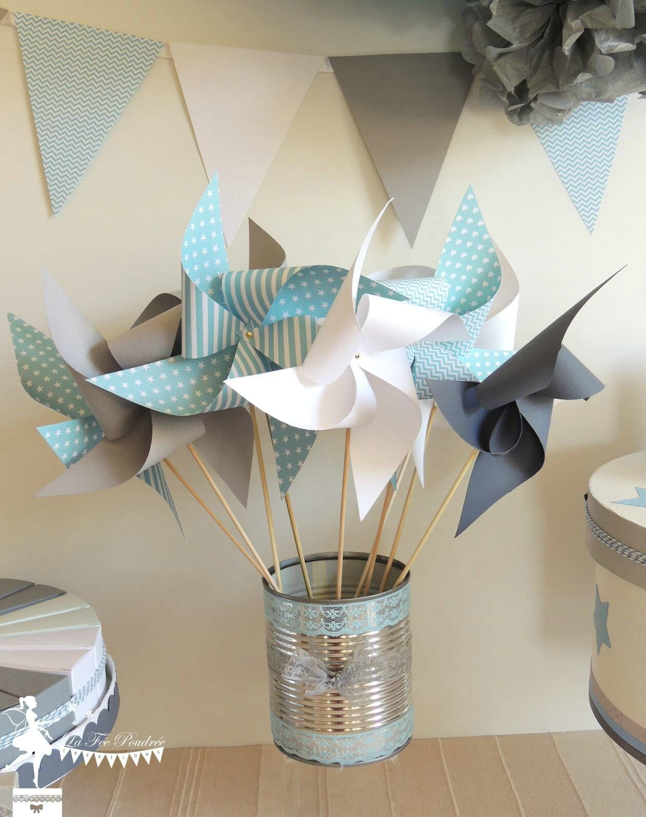decoration mariage bapteme baby shower moulin a vent bleu gris blanc