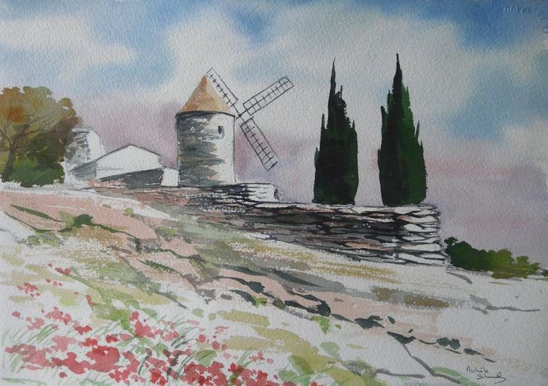 Moulin - Aquarelle