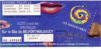 Billet Eurockéennes 1991