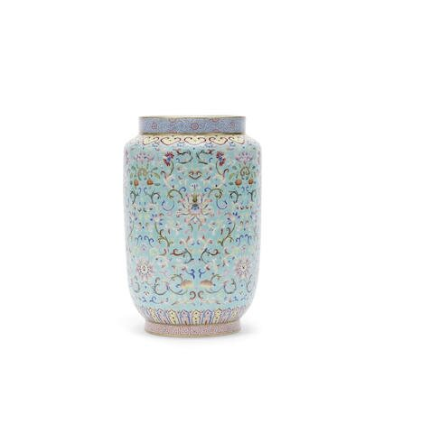 A famille rose turquoise-ground vase, Jiaqing seal mark and of the period