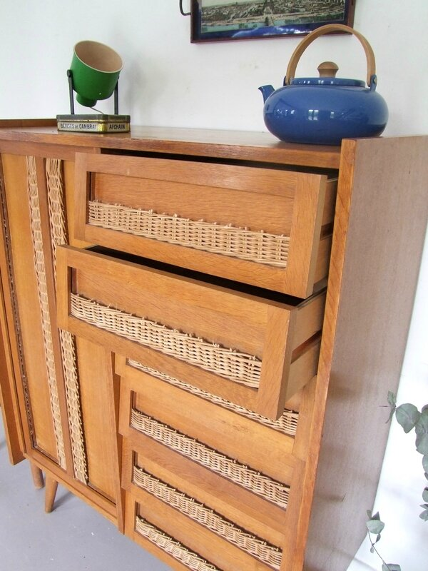 Armoire commode rotin
