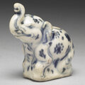 Vietnamese elephant-shaped water-dropper in underglaze blue. late 15th-early 16th centuries.