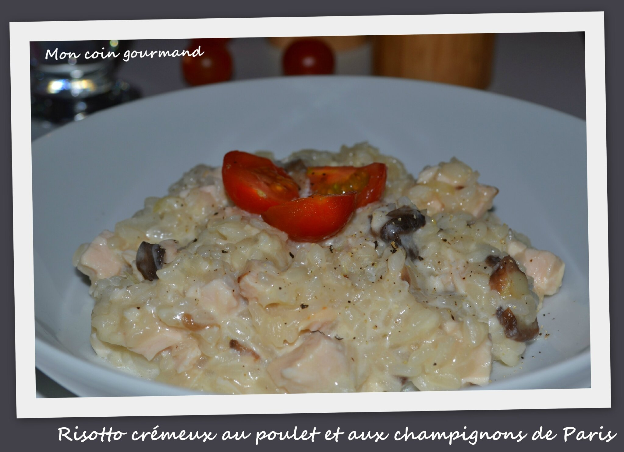 risotto cr meux au poulet et aux champignons de paris mon coin gourmand. Black Bedroom Furniture Sets. Home Design Ideas
