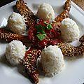 Etoiles de poulet laquees au sesame