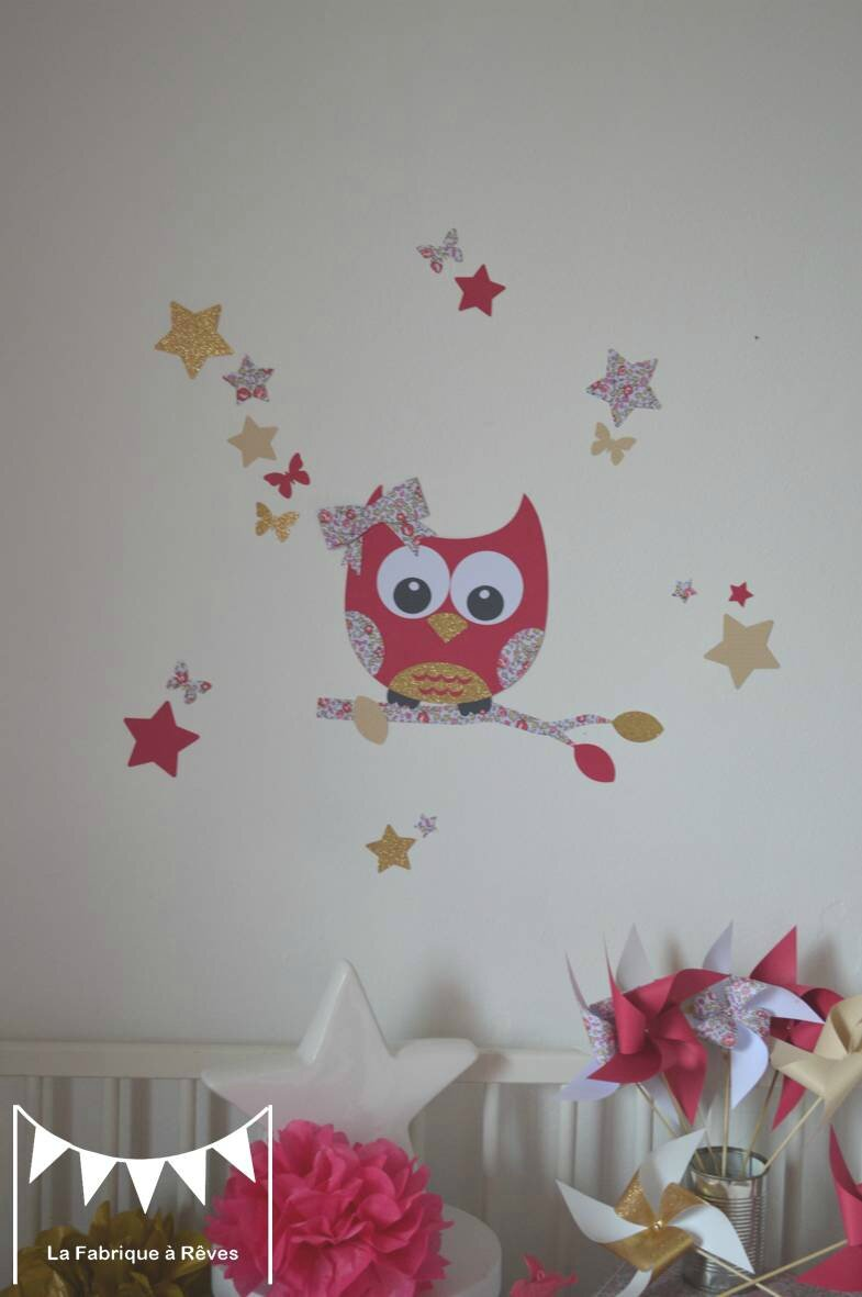 Stickers hibou chouette liberty loise rose fuchsia dor beige d coration chambre enfant b b for Decoration chambre bebe hibou