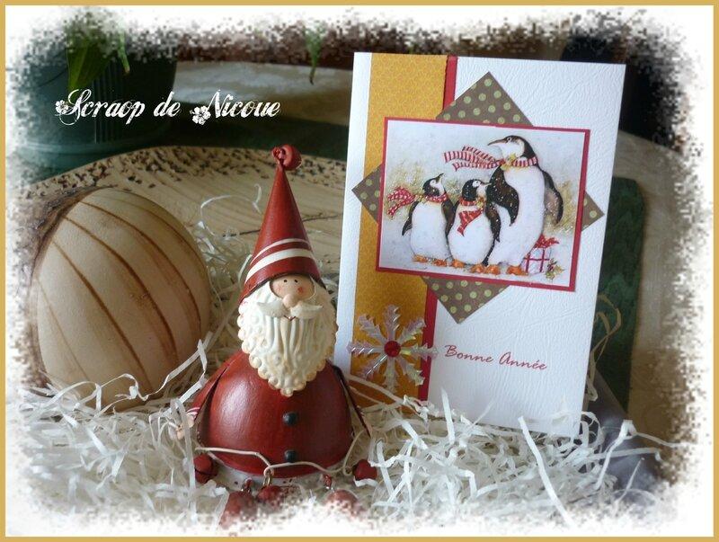 Carte pingouins Bonne Année