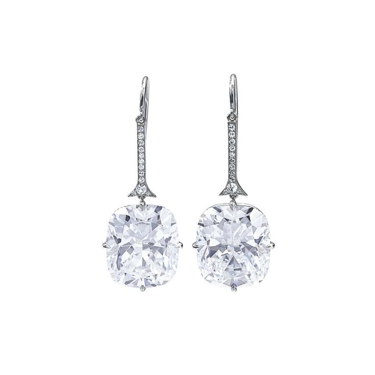 Pair of fine diamond earrings