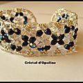 Bracelet tissé de perles cristal et noir - 278